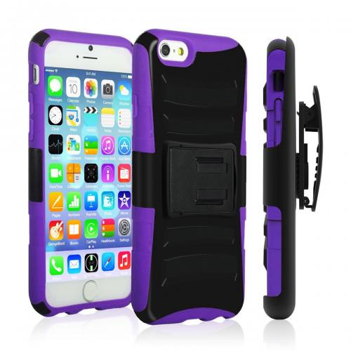 Apple iPhone 6 PLUS/6S PLUS (5.5 inch) Heavy Case,  [Black/ Purple]  Heavy Duty Dual Layer Hybrid Holster Case with Kickstand and Locking Belt Swivel Clip