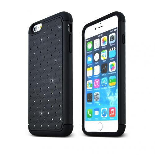 Apple iPhone 6 PLUS/6S PLUS (5.5 inch) Bling Case,  [Black Bling]  Supreme Protection Plastic on Silicone Dual Layer Hybrid Case