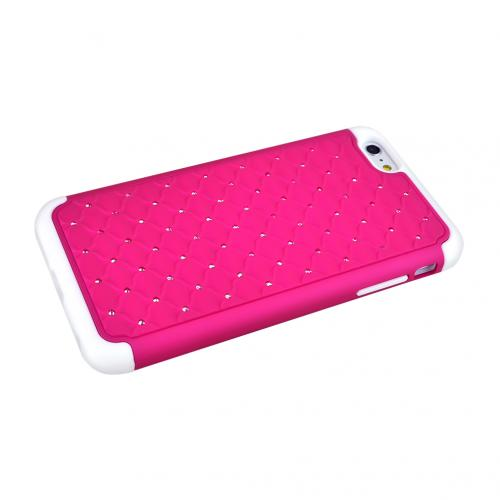 Apple iPhone 6 PLUS/6S PLUS (5.5 inch) Bling Case,  [Hot Pink Bling]  Supreme Protection Plastic on Silicone Dual Layer Hybrid Case