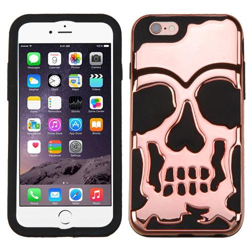 [Apple iPhone 6S/6 Plus] (5.5 inch) Case, Skull Hybrid Dual Layer Hard Case on Silicone Skin [Rose Gold]