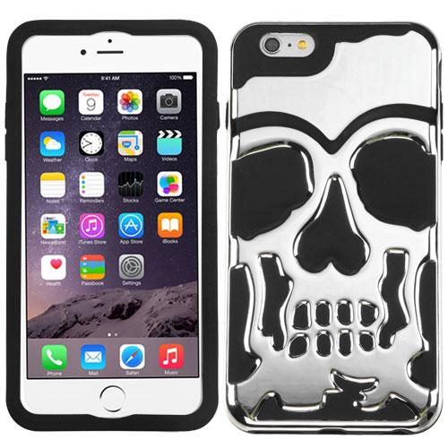 [Apple iPhone 6S/6 Plus] (5.5 inch) Case, Skull Hybrid Dual Layer Hard Case on Silicone Skin [Silver]