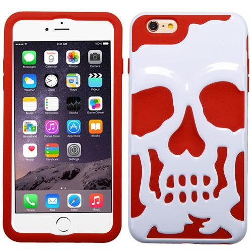 [Apple iPhone 6S/6 Plus] (5.5 inch) Case, Skull Hybrid Dual Layer Hard Case on Silicone Skin [White on Red]