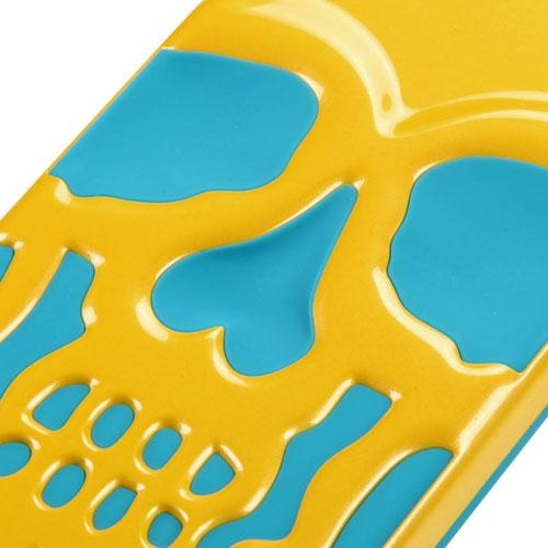 [Apple iPhone 6S/6 Plus] (5.5 inch) Case, Skull Hybrid Dual Layer Hard Case on Silicone Skin [Yellow on Teal]