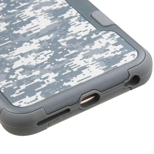 [Apple iPhone 6/6S Plus] (5.5 inch) Case, TUFF Hybrid Dual Layer Hard Case on Silicone Skin [Iron Gray Universal Camouflage]