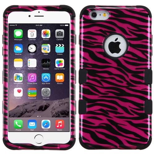 Apple iPhone 6S/6 Plus (5.5 inch) Case, TUFF Hybrid Dual Layer Hard Case on Silicone Skin [Pink Zebra]