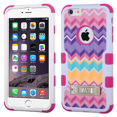 [Apple iPhone 6/6S Plus] (5.5 inch) Case, TUFF Hybrid Dual Layer Hard Case on Silicone Skin w/ Kickstand [Camo Wave Chevron]