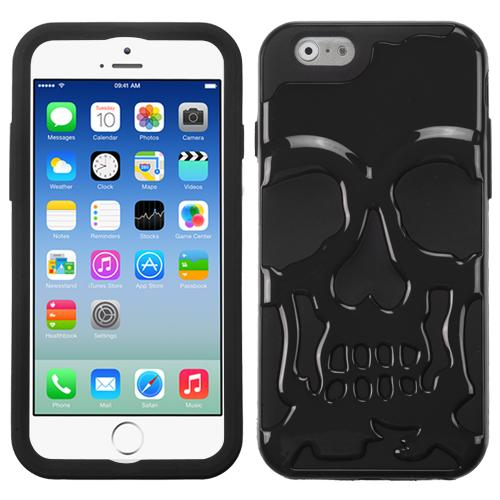 [Apple iPhone 6/6S] (4.7 inch) Case, Skull Hybrid Dual Layer Hard Case on Silicone Skin [Black]