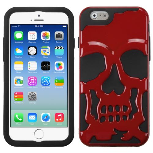 [Apple iPhone 6/6S] (4.7 inch) Case, Skull Hybrid Dual Layer Hard Case on Silicone Skin [Red]