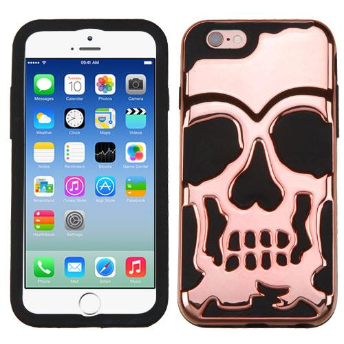 [Apple iPhone 6/6S] (4.7 inch) Case, Skull Hybrid Dual Layer Hard Case on Silicone Skin [Rose Gold]