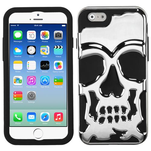[Apple iPhone 6/6S] (4.7 inch) Case, Skull Hybrid Dual Layer Hard Case on Silicone Skin [Silver]