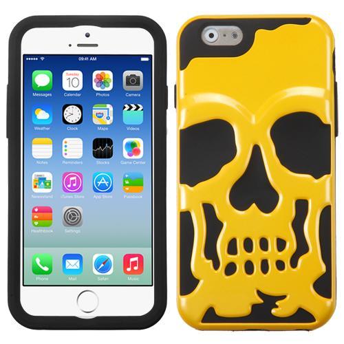 [Apple iPhone 6/6S] (4.7 inch) Case, Skull Hybrid Dual Layer Hard Case on Silicone Skin [Yellow]