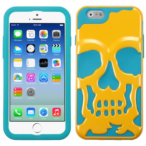 [Apple iPhone 6/6S] (4.7 inch) Case, Skull Hybrid Dual Layer Hard Case on Silicone Skin [Yellow on Teal]