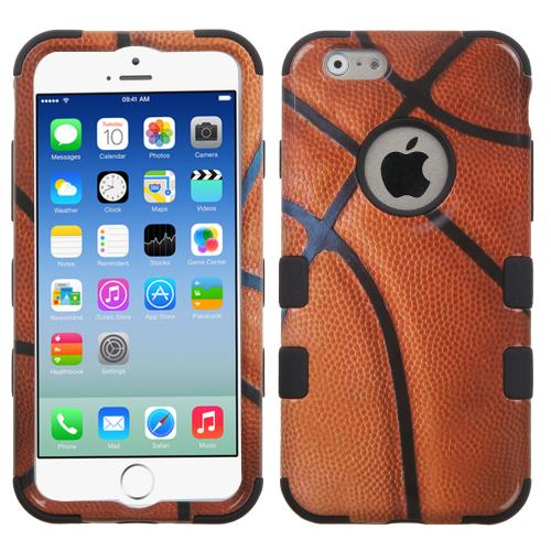[Apple iPhone 6/6S] (4.7 inch) Case, TUFF Hybrid Dual Layer Hard Case on Silicone Skin [Basketball]