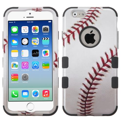 [Apple iPhone 6/6S] (4.7 inch) Case, TUFF Hybrid Dual Layer Hard Case on Silicone Skin [Baseball]