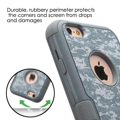[Apple iPhone 6/6S] (4.7 inch) Case, TUFF Hybrid Dual Layer Hard Case on Silicone Skin w/ Kickstand [Iron Gray Universal Camouflage]