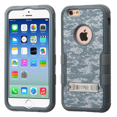 Apple iPhone 6S/6 (4.7 inch) Case, TUFF Hybrid Dual Layer Hard Case on Silicone Skin w/ Kickstand [Iron Gray Universal Camouflage]