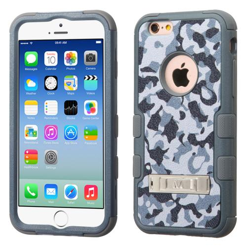 Apple iPhone 6S/6 (4.7 inch) Case, TUFF Hybrid Dual Layer Hard Case on Silicone Skin w/ Kickstand [Iron Gray Urban Camouflage]