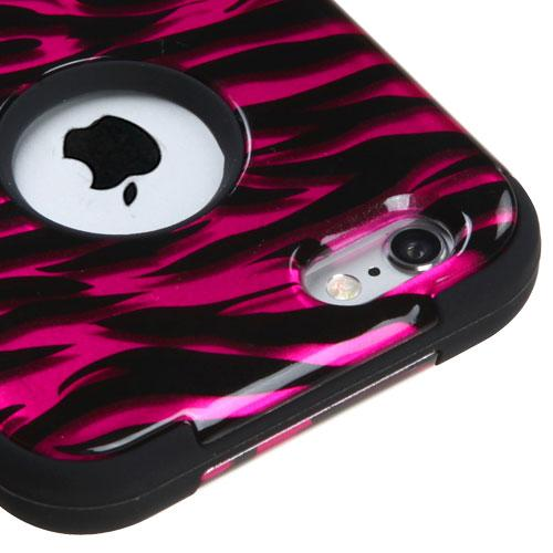 [Apple iPhone 6/6S] (4.7 inch) Case, TUFF Hybrid Dual Layer Hard Case on Silicone Skin [Hot Pink Zebra]