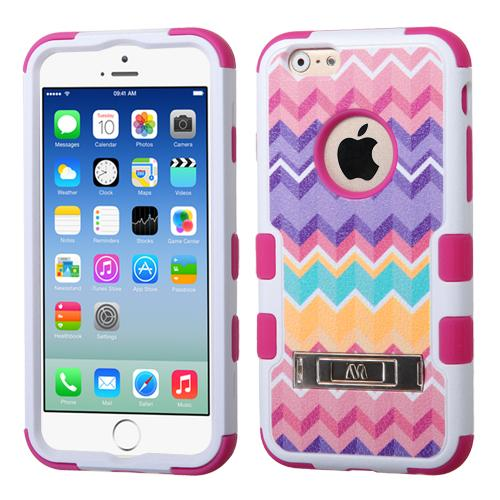[Apple iPhone 6/6S] (4.7 inch) Case, TUFF Hybrid Dual Layer Hard Case on Silicone Skin w/ Kickstand [Camo Wave Chevron]
