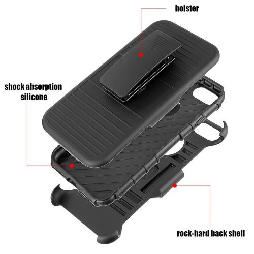 [Apple iPhone 7] (4.7 inch) Holster Case, REDshield [Black] Supreme Protection Hard Plastic on Silicone Skin Dual Layer Hybrid Case