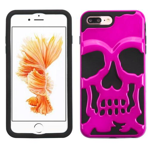 [Apple iPhone 7 Plus] (5.5 inch) Case, Skull Hybrid Dual Layer Hard Case on Silicone Skin [Hot Pink]