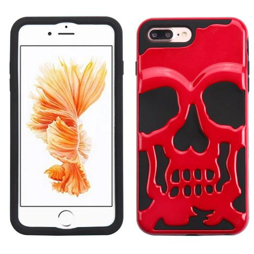 [Apple iPhone 7 Plus] (5.5 inch) Case, Skull Hybrid Dual Layer Hard Case on Silicone Skin [Red]