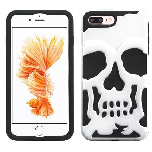 [Apple iPhone 7 Plus] (5.5 inch) Case, Skull Hybrid Dual Layer Hard Case on Silicone Skin [White]