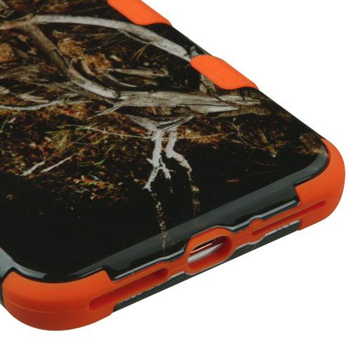 [Apple iPhone 7 Plus] (5.5 inch) Case, TUFF Hybrid Dual Layer Hard Case on Orange Silicone Skin [Tree Branches on Black]