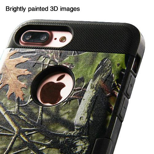 [Apple iPhone 7 Plus] (5.5 inch) Case, TUFF Hybrid Dual Layer Hard Case on TPU Skin [Oak Leaves - Hunting Camouflage]