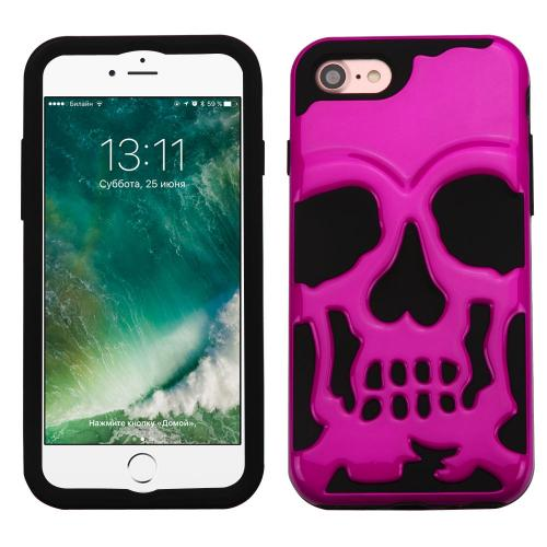 [Apple iPhone 7] (4.7 inch) Case, Skull Hybrid Dual Layer Hard Case on Silicone Skin [Hot Pink]