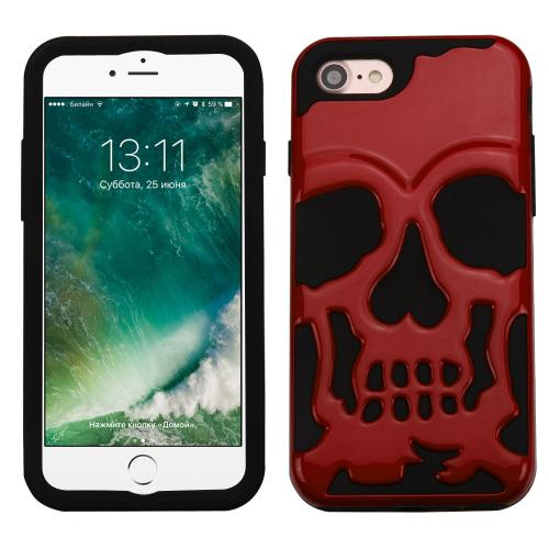 Apple iPhone 7 (4.7 inch) Case, Skull Hybrid Dual Layer Hard Case on Silicone Skin [Red]
