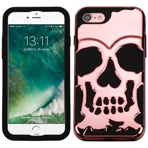 [Apple iPhone 7] (4.7 inch) Case, Skull Hybrid Dual Layer Hard Case on Silicone Skin [Rose Gold]