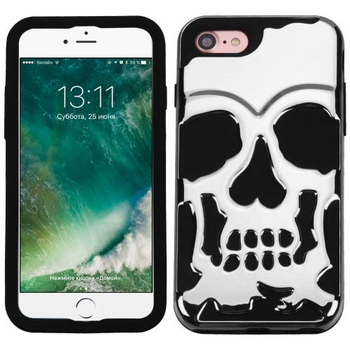 Apple iPhone 7 (4.7 inch) Case, Skull Hybrid Dual Layer Hard Case on Silicone Skin [Silver]