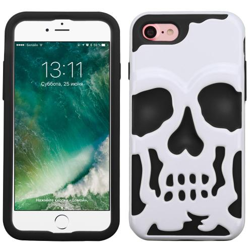 [Apple iPhone 7] (4.7 inch) Case, Skull Hybrid Dual Layer Hard Case on Silicone Skin [White]