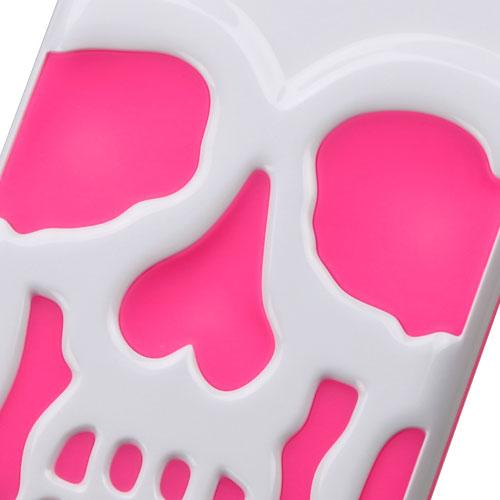 Apple iPhone 7 (4.7 inch) Case, Skull Hybrid Dual Layer Hard Case on Silicone Skin [White on Hot Pink]