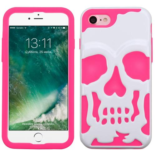 [Apple iPhone 7] (4.7 inch) Case, Skull Hybrid Dual Layer Hard Case on Silicone Skin [White on Hot Pink]