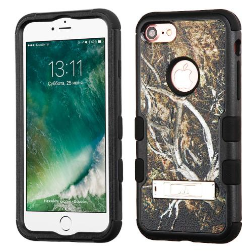 [Apple iPhone 7] (4.7 inch) Case, TUFF Hybrid Dual Layer Hard Case on Silicone Skin w/ Kickstand [Tree Branches on Black]