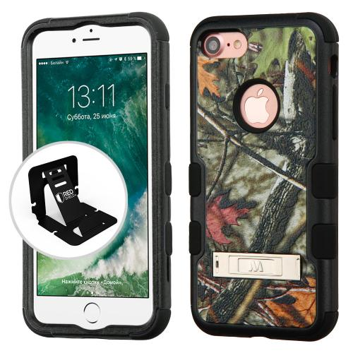 [Apple iPhone 7] (4.7 inch) Case, TUFF Hybrid Dual Layer Hard Case on Silicone Skin w/ Kickstand [Oak Leaves-Hunting Camouflage]