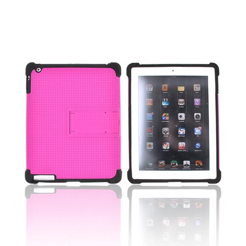 Apple iPad 2 Perforated Hybrid Hard Cover Over Silicone Case w/ Stand - Magenta/ Black