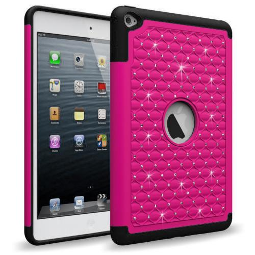 iPad Mini 4 Case, [Hot Pink Bling] Supreme Protection Bling Plastic on Silicone Dual Layer Hybrid Case For Apple iPad Mini 5