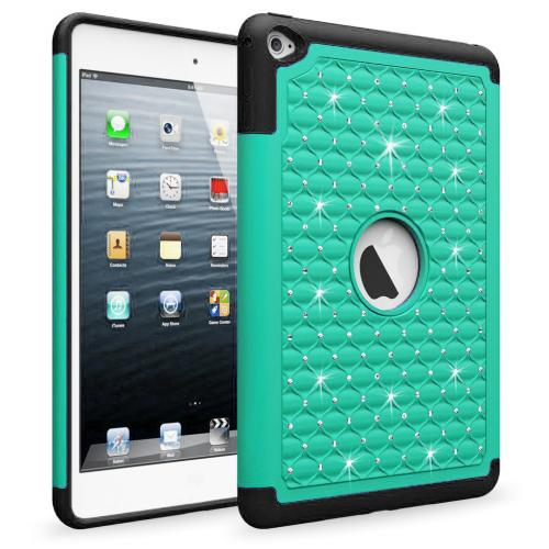 iPad Mini 4 Case, [Mint Bling] Supreme Protection Bling Plastic on Silicone Dual Layer Hybrid Case For Apple iPad Mini 7