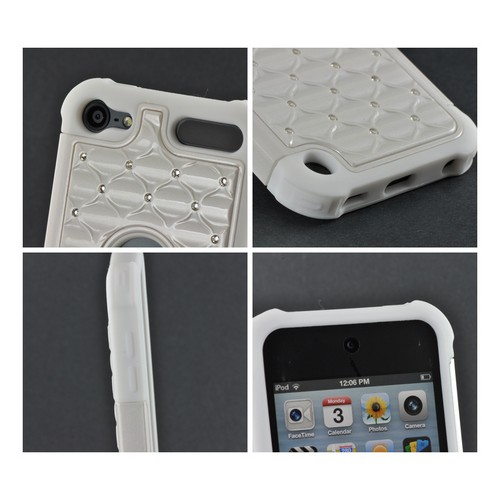 White w/ Silver Gems Hard Cover Over Silicone Case w/ Bling for Apple iPod Touch 5