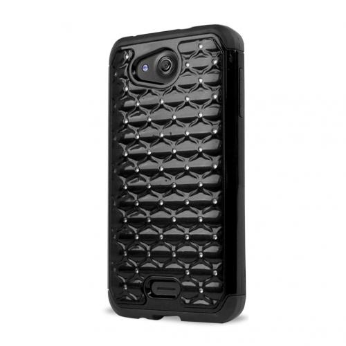 Kyocera Hydro Wave Case, [Black Bling] Supreme Protection Plastic on Silicone Dual Layer Hybrid Case