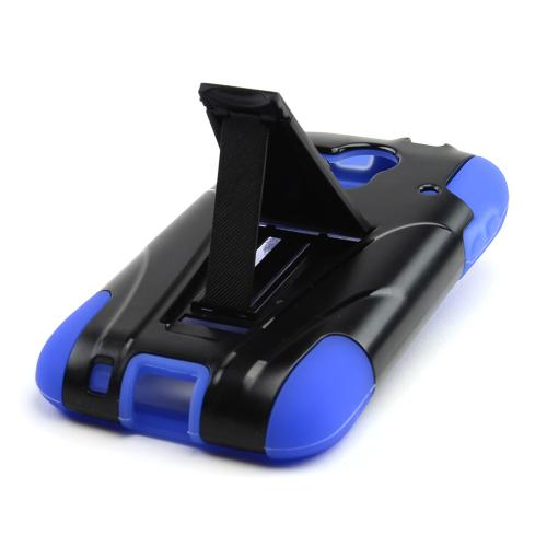 Black Hard Case w/ Kickstand on Blue Silicone Case for Kyocera Hydro Edge