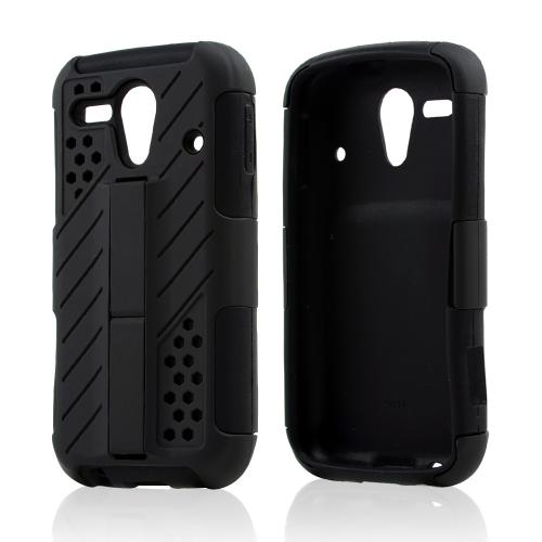Black Rubberized Shell w/ Kickstand over Black Silicone Skin for Kyocera Hydro Edge