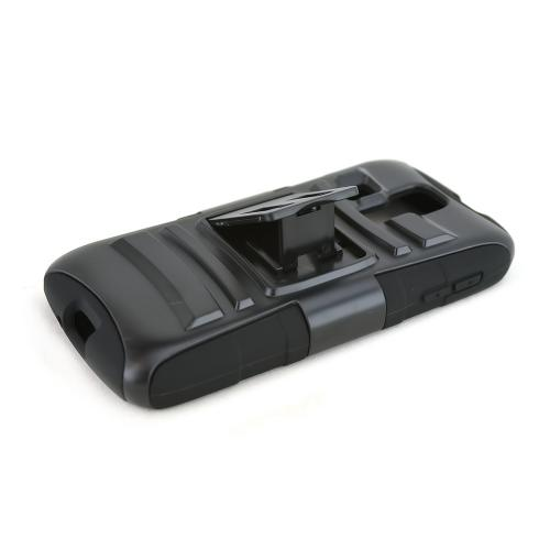 Black Kyocera Hydro Vibe Hard Case w/ Kickstand on Black Silicone Skin Case w/ Holster - Great Protection!