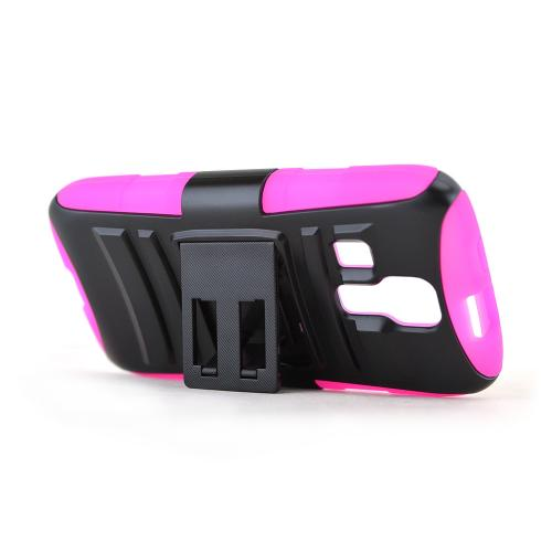 Black Kyocera Hydro Vibe Hard Case w/ Kickstand on Hot Pink Silicone Skin Case w/ Holster - Great Protection!