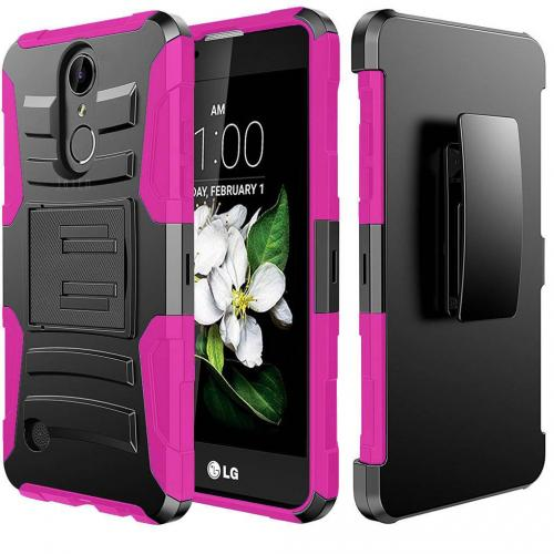LG Aristo Case, Supreme Protection Hard Plastic on Silicone Skin Dual Layer Hybrid Case [Black/ Hot Pink]