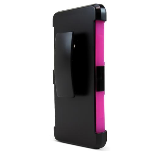 LG Class Case, [Hot Pink] Rubberized Plastic on Silicone Dual Layer Hybrid Case