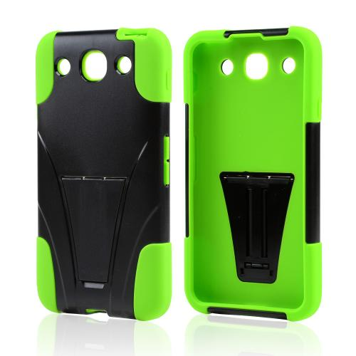 Black Hard Cover w/ Kickstand on Lime Green Silicone Case for LG Optimus G Pro